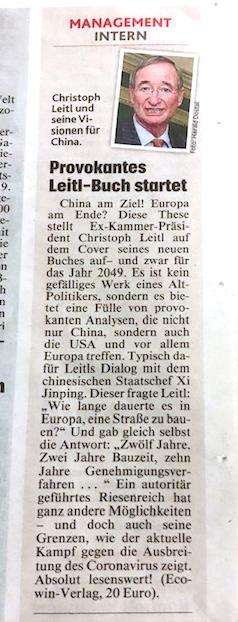 """Einladung zur Präsentation des neuen Buches von Christoph Leitl: """"China am Ziel! Europa am Ende?"""""""