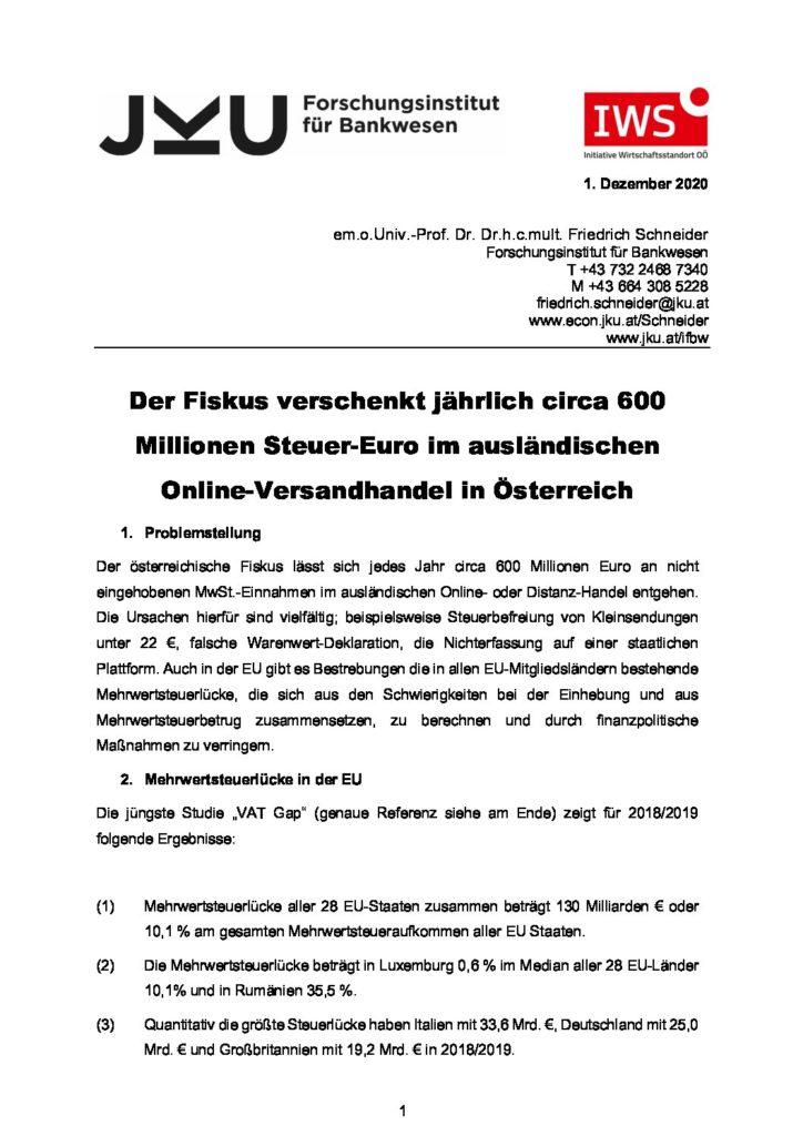 Österreich verschenkt jährlich  bis zu 680 Millionen Steuer-Euro an ausländischen Online-Versandhandel